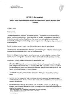 Updated Letter from The Department of Education regarding Coronavirus.